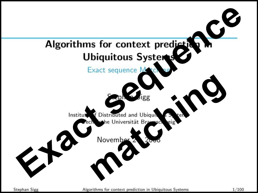 Prediction by exact sequence matching