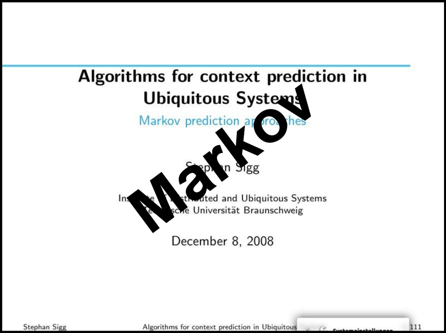 Markov prediction approaches