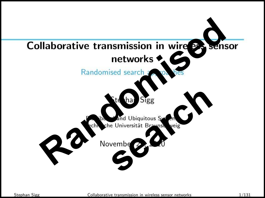 Randomised search approaches