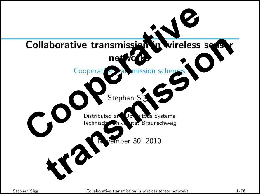 Cooperative transmission