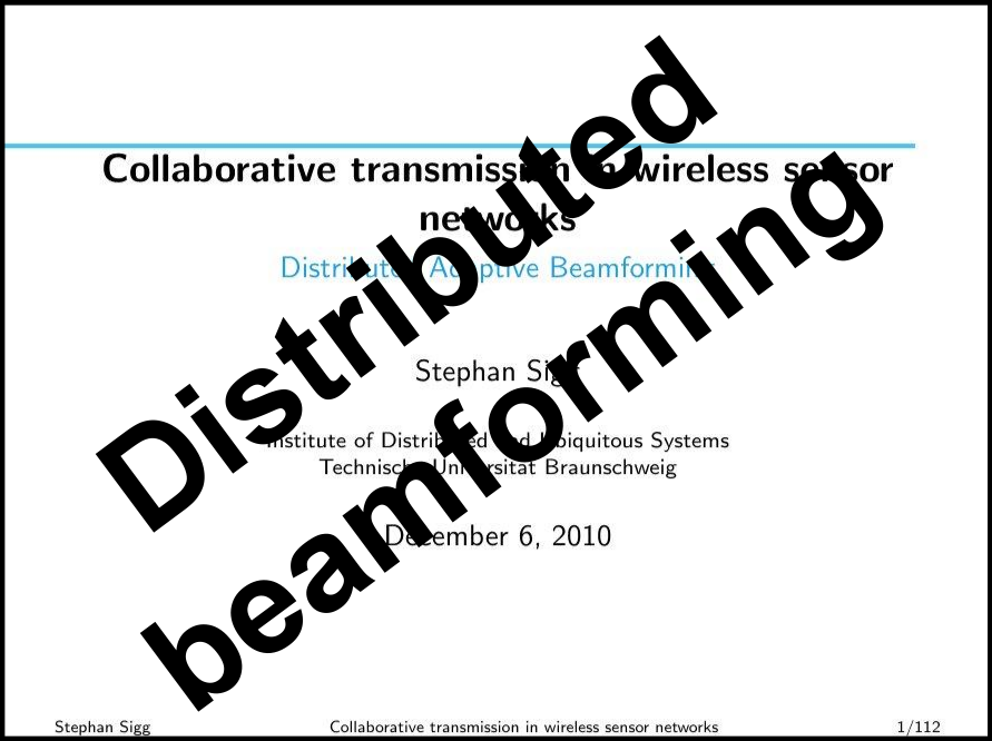 Distributed adaptive beamforming