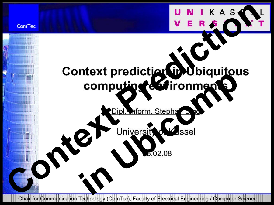 Context prediction in Ubicomp environments