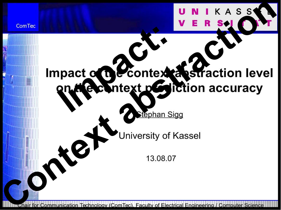 Impact of the Context abstraction level on the context prediction accuracy