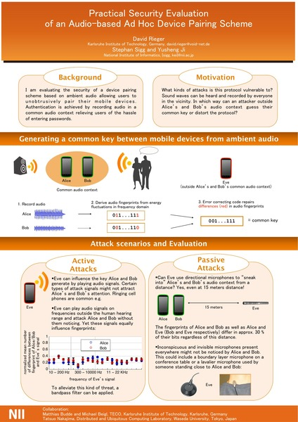 NII 2013 - Practical security evaluation of an audio-based ad-hoc device pairing scheme