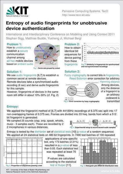 Context 2011 - Entropy of audio fingerprints for unobtrusive device authentication
