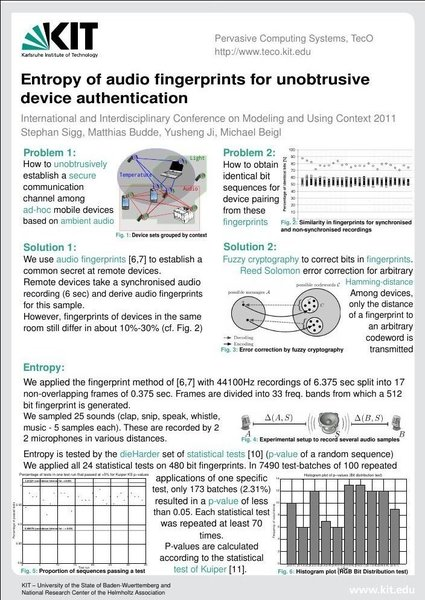 Context 2011 - Entropy of audio fingerprints for unobtrusive device authentication