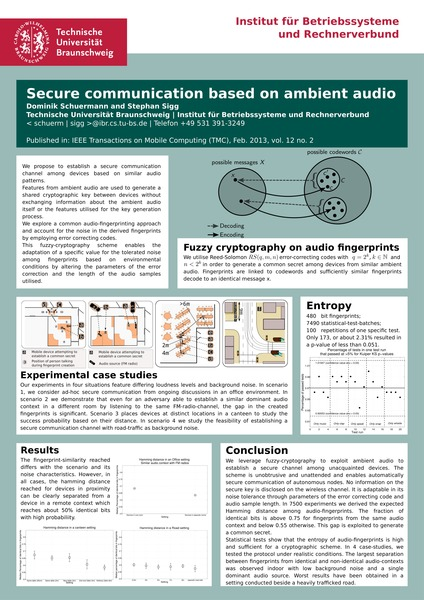SOUPS 2013 - Secure communication based on ambient audio